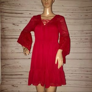 Chiffon Bell Sleeve Dress Band Of Gypsies Medium